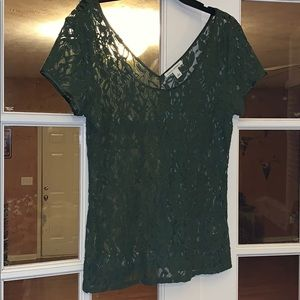 Banana Republic Olive Green Lace Blouse